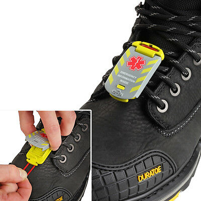 Emergency Waterproof ID ICE SOS Universal Boot Tag Clip- Site Worker Details PPE