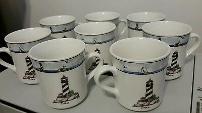 Totally Today Lighthouse Cups Stoneware SET OF 8  LIGHTHOUSE AND SAILBOATS