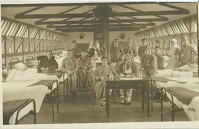 Ww1, Unknown Hospital Ward With Patients And Nurses, Sepia Photo Postcard