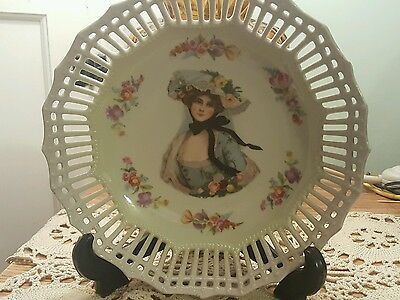 "Antique Germany Fine China Portrait Lady Reticulated Pierced  8"" Wide Bowl"