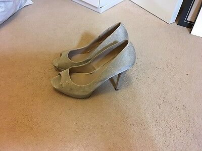 Ladies Silver Heels Wide Fit Size 6.5 From Next