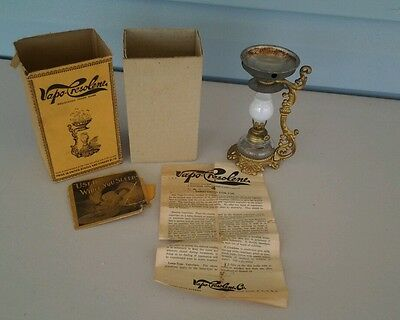 Vintage Antique Victorian Vapo Mini Cresolene Kerosene Vaporizer Lamp With Box