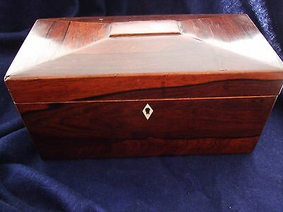Antique Georgian Victorian rosewood tea caddy box with key