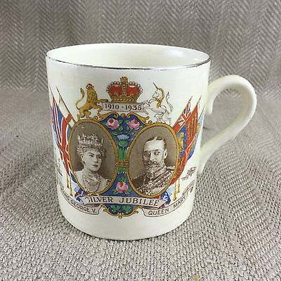 Antique Royal King George Queen Mary Leighton Pottery Commemorative Cup Vintage