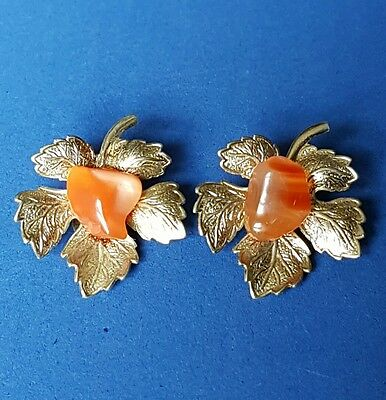Signed Alice Caviness Vintage Leaf Earrings Gold Tone & Red Agate