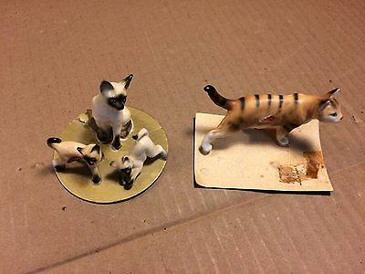 2 Vintage Cats & Kittens Bone China Figurines Made in Japan