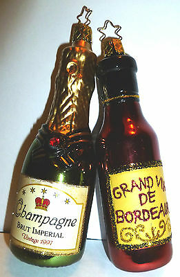 Inge Glas Champagne Bottle W Ruby Rs & Bordeaux Wine German Christmas Ornament