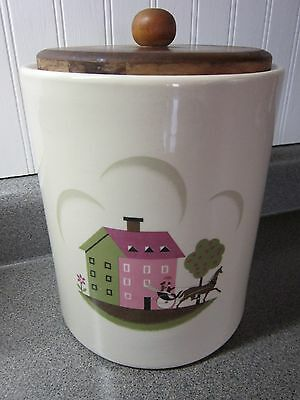 Vintage Steubenville Ceramic Canister Wooden1950's Couple HORSE CARRIAGE HOUSE