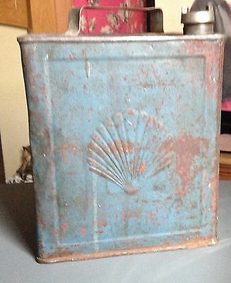 Vintage Shell Petrol Tin With Brass Lid