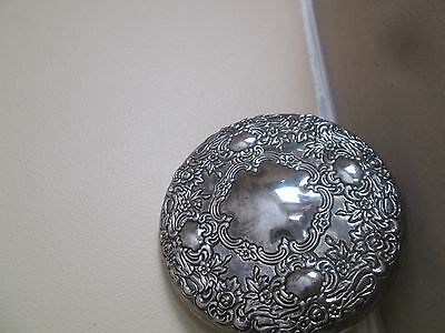 vintage antique silver plated embossed compact pocket mirror