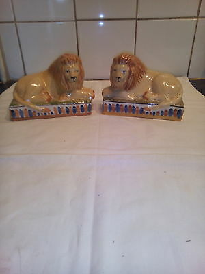 Pair  Of  Staffordshire  Pottery  Recumbant  Lions