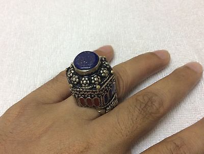 Men's Uniqueness Rings Real Lapis Multi Stone Inlaid Islamic Vintage Size 8.5 US
