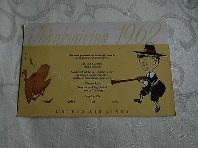 Vintage 1962 UNITED AIRLINES Thanksgiving Day Menu Color Postcard USED