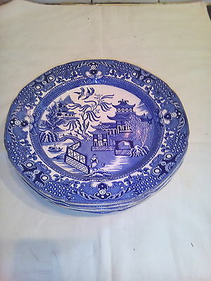 Six  Burleigh  Ware  Willow  Pattern   Dinner  Plates