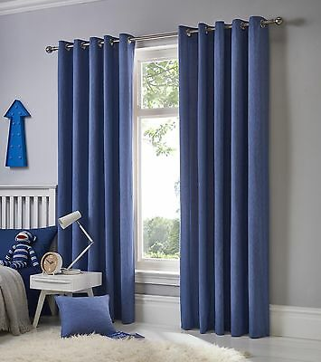 Fusion Sorbonne Plain Denim Blue 100%Cotton Eyelet Lined Kids Childrens Curtains