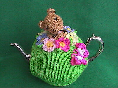Hand Knit Sleepy Mouse and Spring Flower Tea Cosy