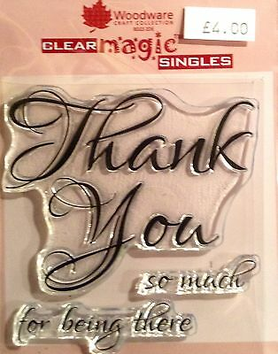 Woodware Clear Magic Scripted Thank You stamp set FRS190