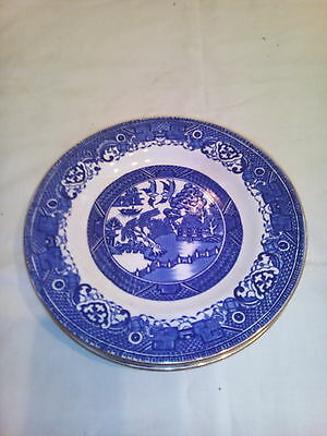 Four  Willow  Pattern  Tea  Plates
