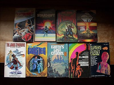 9 Vintage Science Fiction Paperbacks by Various Authors