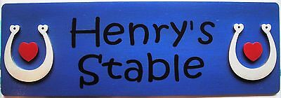 Royal Blue Wood Stable Door Plaque Name Plate Sign * Personalised * Free Uk Post