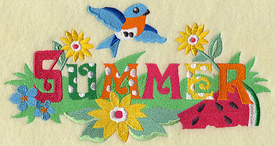 Embroidered Signs of summer quilt block,fabric,cushion panel,gift,mothers day