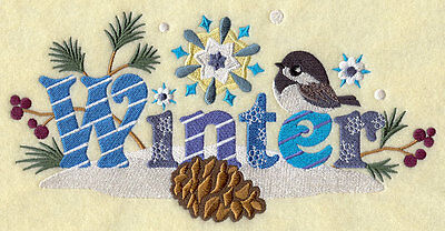 Embroidered Signs of winter quilt block,sewing, fabric,cushion panel