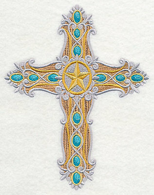Embroidered Western Cross quilt block,fabric,panel,gift,religion,cross