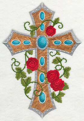 Embroidered Cross & roses quilt block,fabric,panel,gift,religion,cross,flowers