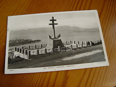 TOP2391 - Tuck's Real photo Postcard - Free French Memorial, Greenock 1956
