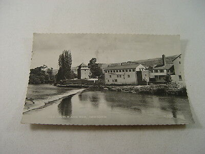 TOP9627 - Real Photo Postcard - Old Church and Weir, Newtown 1962