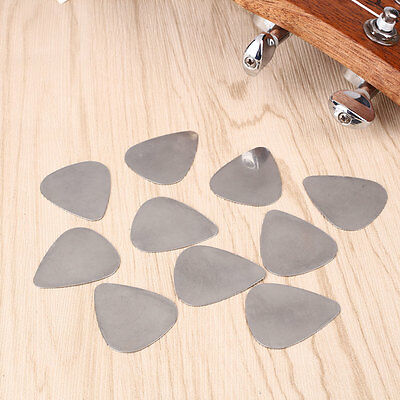 10Pcs Cool Stainless Steel Metal Picks for Electric Guitar Bass Supplies Silver