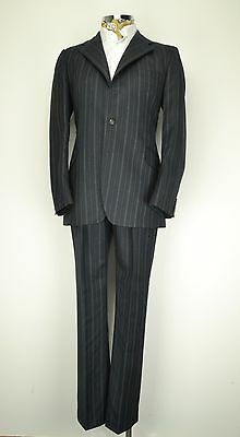 "42"" Long 1970's Hector Powe 3 Button Suit Grey Blue Pinstripe slant pocket"