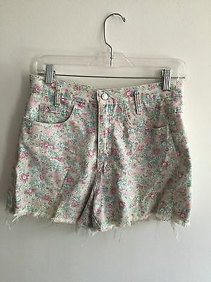 Vintage High Waisted Denim Shorts Pink Floral Raw Edge Flattering Small