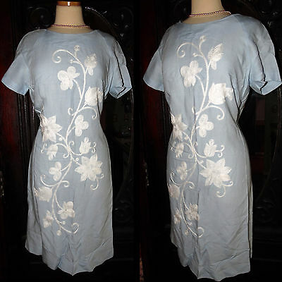 Vintage 1960s-Fabulous Miss Donna-Nelly Don-Blue White Floral Wiggle Shift Dress