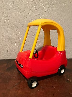 """Vintage Little Tikes Red Yellow Cozy Coupe Dollhouse Size 6"""" Toy Car"""