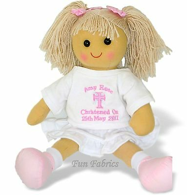 Personalised Rag Doll CHRISTENING FIRST HOLY COMMUNION DEDICATION BAPTISM Dolly