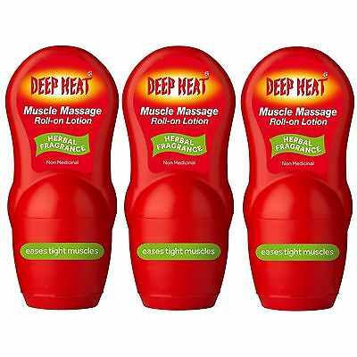 Deep Heat Roll-On Lotion Dual Action Massage Therapy + Heat 50ml 2,3 or 6 Bottle