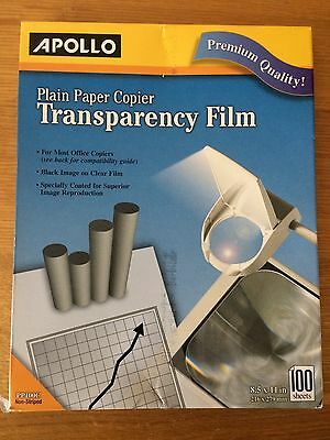Apollo Plain Paper Copier Transparency Film 8.5 x 11 Inches, Clear 100 Sheets