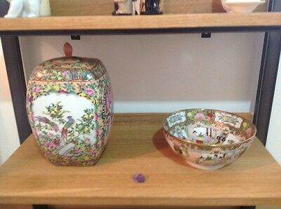 Chinese Hand Painted  Bowl  And Container And Lid