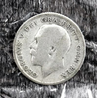 silver sixpence 1921 George V uncleaned