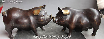 "8"" Chinese Bronze Fengshui Zodiac Year Cute Lovely Pig Pigs Animal Statue Pair"