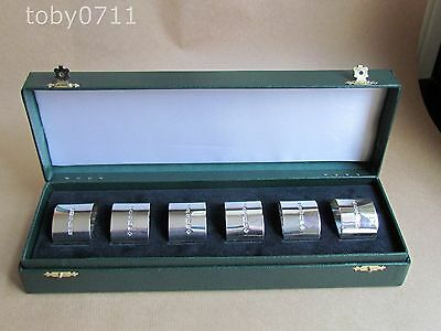 BOXED SET OF 6 SOLID SILVER NAPKIN RINGS UC SHEFFIELD 2000 (Ref1609)
