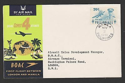 1961 Philippines to London B O A C first flight cover