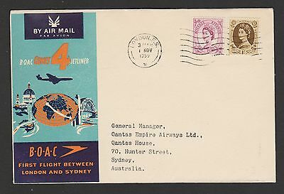 1959 London to Sydney B O A C first flight cover