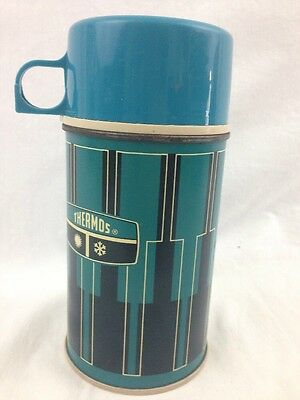 Vintage 1971 3pc KING SEELEY Blue/Black Half-Pint Insulated THERMOS