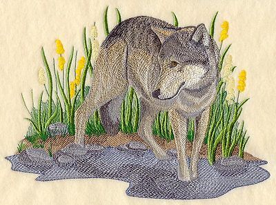 Embroidered Wolf in summer quilt block,wolf fabric, panel,autumn,wolves,wolf
