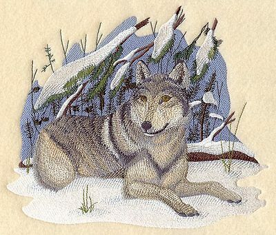 Embroidered wolf in winter quilt block,wolves, cushion panel, wolf panel