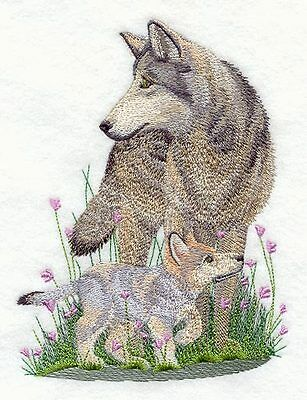 Embroidered wolf & cub quilt block,quilt panel,cushion panel,quilt square