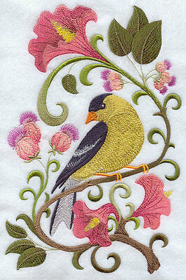EmbroideredGoldfinch in flowers quilt block,sewing fabric,cushion panel,birds