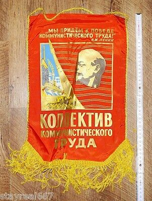 Soviet USSR Red Lenin Award Pennant Flag Collective Of Socialism Laborers #41